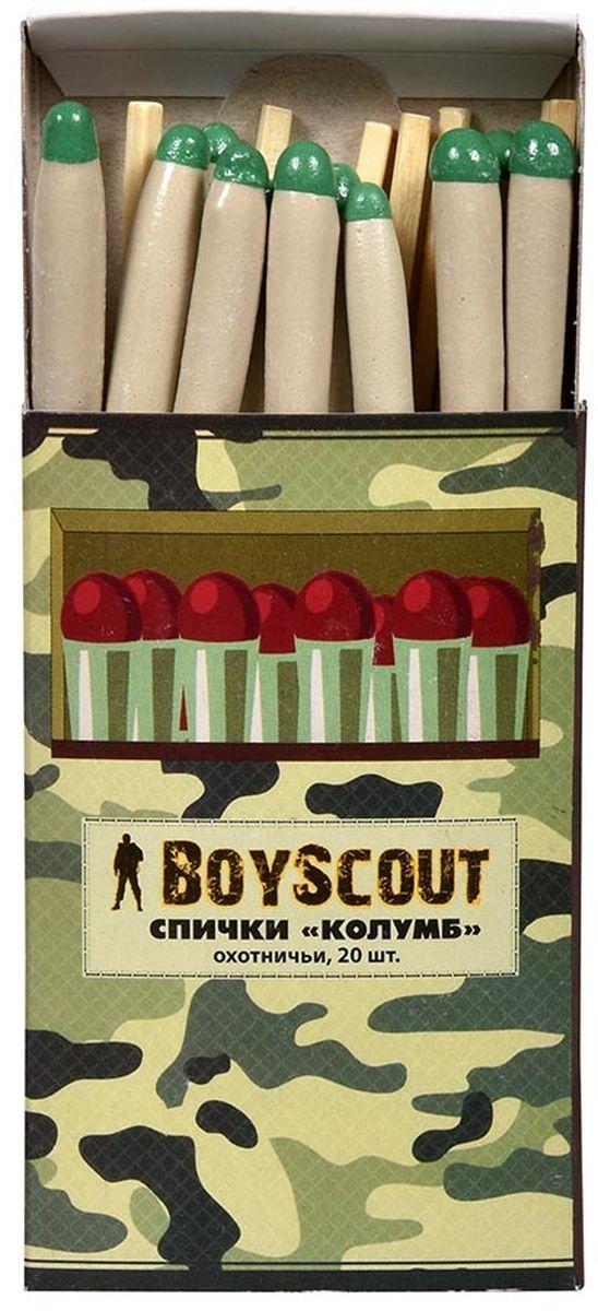 Спички Boyscout Колумб, длина 8 см, 20 шт61033Предназначение: для туристов, охотников, рыболовов. Описание: не гаснут от ветра и влаги. Условия хранения: хранить в сухом месте. Срок годности: не ограничен.