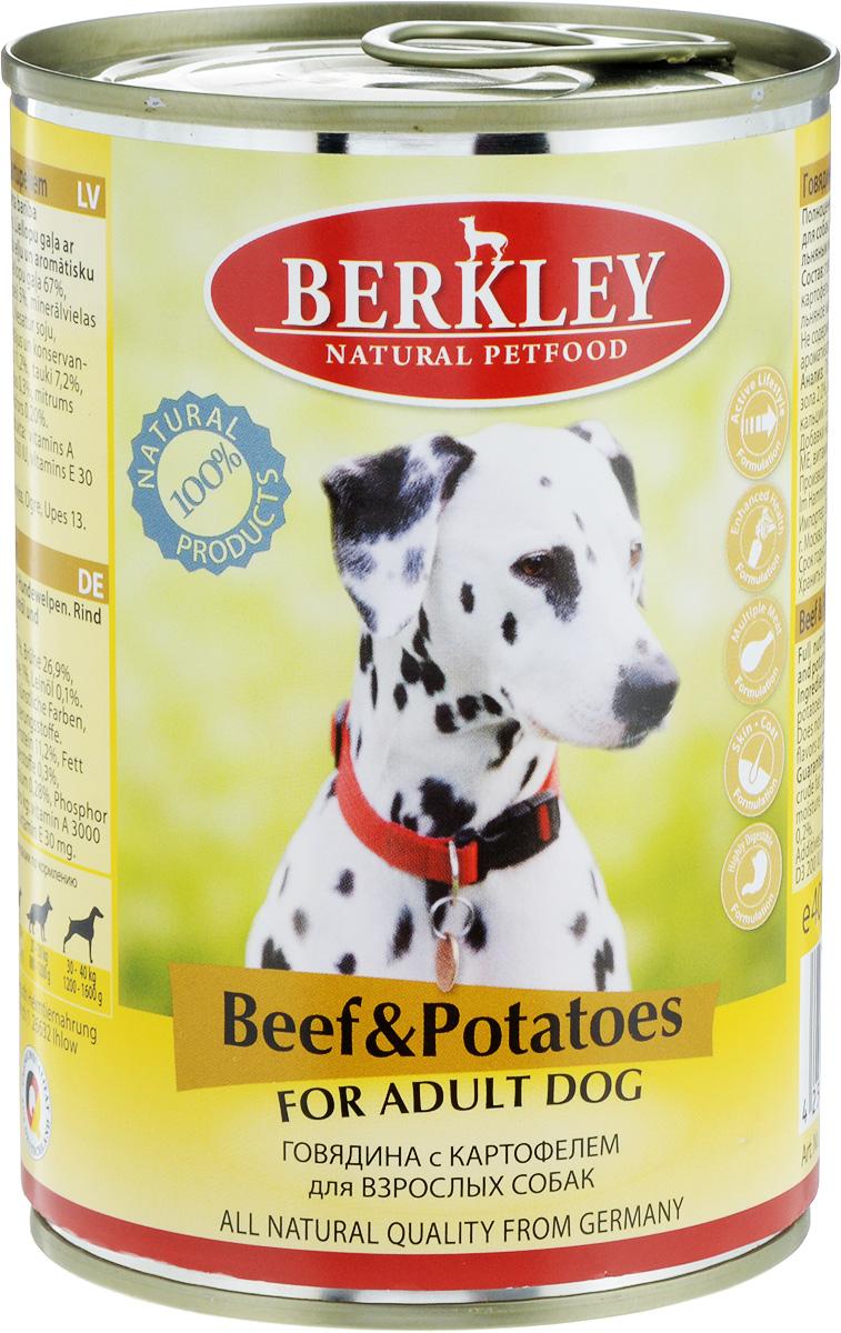 Консервы Berkley, для взрослых собак, говядина с картофелем, 400 г69561/75019Консервы Berkley - полноценное консервированное питание для взрослых собак. Не содержат сои, консервантов, искусственных красителей и ароматизаторов. Корм полностью удовлетворяет ежедневные энергетические потребности животного и обеспечивает оптимальное функционирование пищеварительной системы. Товар сертифицирован.