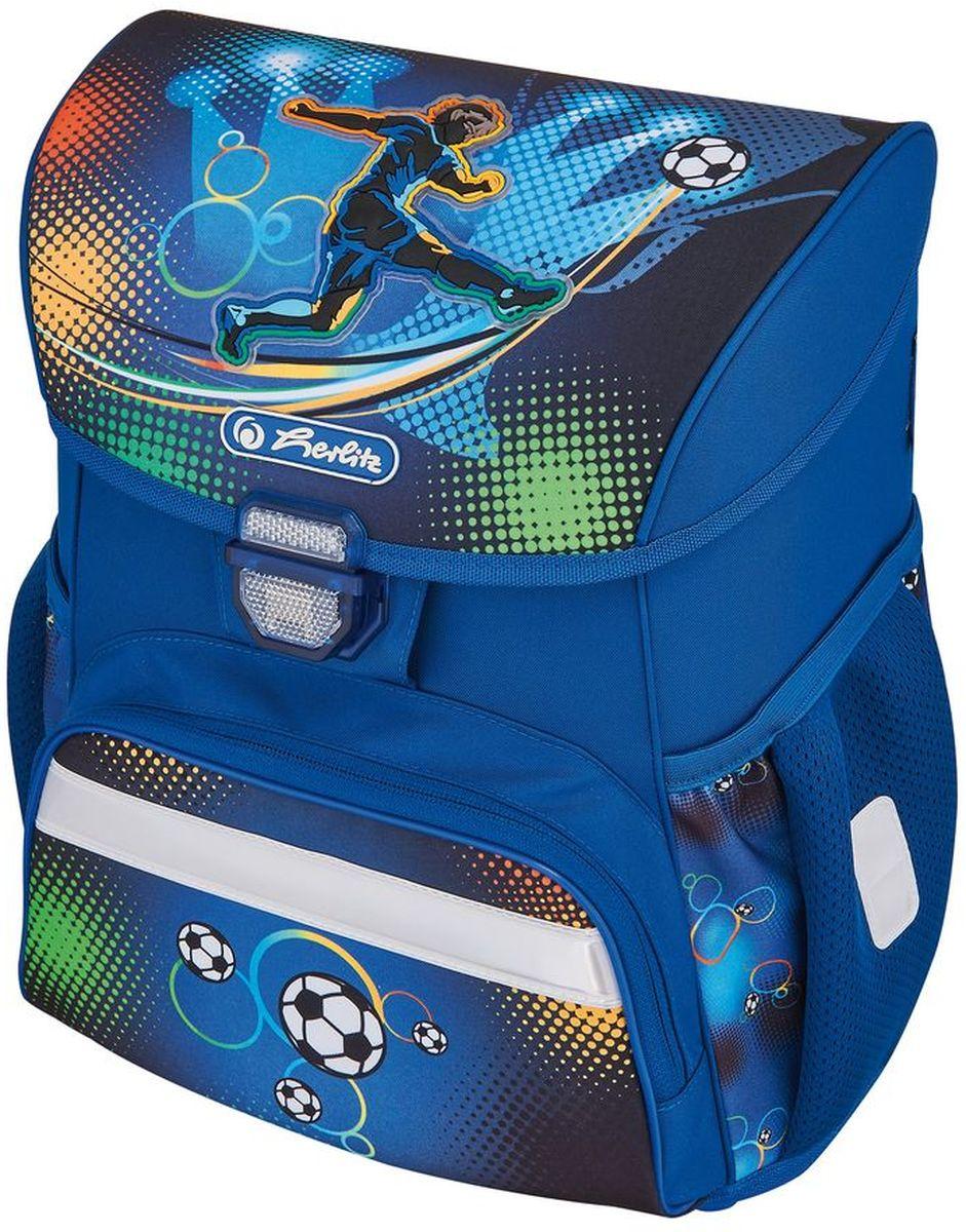 Herlitz Ранец школьный для мальчика Loop Plus Soccer с наполнением цвет синий50007950Ранец Loop Plus Soccer подарит ребенку удобство и стильный внешний вид. Вместе с ранцем в набор входят: текстильный мешок для сменной обуви, жесткий пенал с наполнением 16 предметов, косметичка. Исполненный из полиэстера, он имеет два основных отделения, прикрытых клапаном на защелке, на внутренней стороне которого имеется расписание для уроков, два боковых кармана на резиночке, один большой внешний карман на молнии, уплотненную эргономичную спинку, твердое дно и широкие мягкие регулируемые лямки. Ткань ранца пропитана водоотталкивающим составом. Для удобства переноски рюкзак снабжен ручкой, а чтобы ребенка можно было распознать на дороге в сумерки - светоотражателями. Вес ранца меньше килограмма.