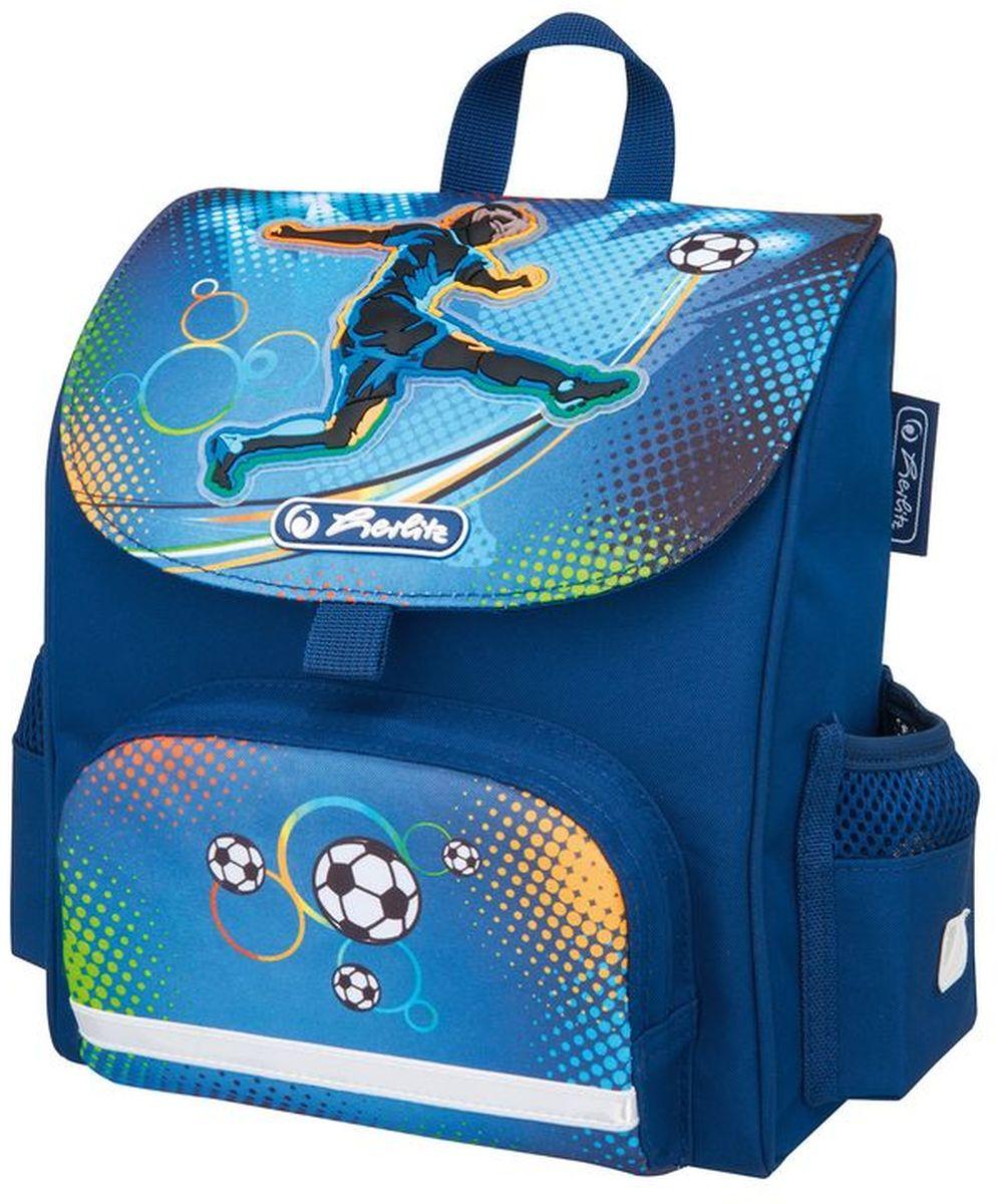 Herlitz Ранец дошкольный Mini Softbag Soccer50008155Небольшой ранец Herlitz Mini Softbag Soccer с эргономичной спинкой предназначен для дошкольников. Уплотненные регулируемые лямки позволяют равномерно распределить нагрузку, не нагружая позвоночник. Модель изготовлена из полиэстера с водоотталкивающей пропиткой. Светоотражающие полоски (на лямках, переднем и боковых карманах) из материала 3M Scotchlite обеспечивают безопасность ребенка в темное время суток. Изделие содержит одно отделение. В наружный передний карман на молнии поместятся карандаши, пенал с письменными принадлежностями. Два боковых кармана подходят для хранения личных вещей. Ранец Herlitz Mini Softbag Soccer компактный и легкий.
