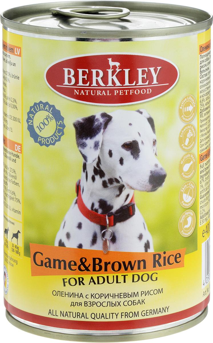 Консервы Berkley, для взрослых собак, оленина с коричневым рисом, 400 г58381/75073Консервы Berkley - полноценное консервированное питание для взрослых собак. Не содержат сои, консервантов, искусственных красителей и ароматизаторов. Корм полностью удовлетворяет ежедневные энергетические потребности животного и обеспечивает оптимальное функционирование пищеварительной системы. Товар сертифицирован.