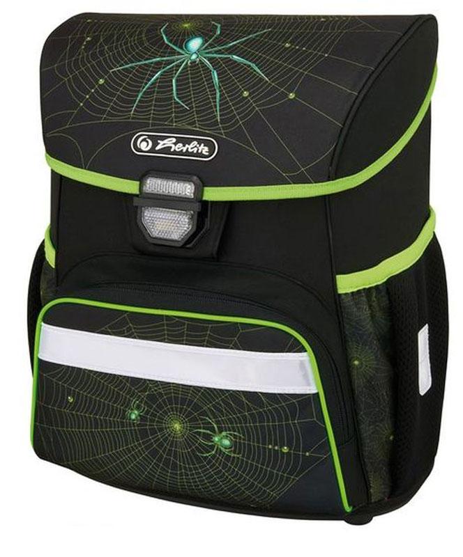 Herlitz Ранец школьный для мальчика Loop Plus Spider с наполнением цвет черный зеленый50009749Ранец Loop Plus Spider подарит ребенку удобство и стильный внешний вид. Вместе с ранцем в набор входят: текстильный мешок для сменной обуви, жесткий пенал с наполнением 16 предметов, косметичка. Исполненный из полиэстера, он имеет два основных отделения, прикрытых клапаном на защелке, на внутренней стороне которого имеется расписание для уроков, два боковых кармана на резиночке, один большой внешний карман на молнии, уплотненную эргономичную спинку, твердое дно и широкие мягкие регулируемые лямки. Ткань ранца пропитана водоотталкивающим составом. Для удобства переноски рюкзак снабжен ручкой, а чтобы ребенка можно было распознать на дороге в сумерки - светоотражателями. Вес ранца меньше килограмма.