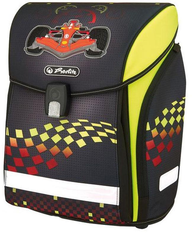 Herlitz Ранец школьный New Midi Plus Formula 1 с наполнением50007783Ранец New Midi Plus Formula 1 с наполнением: - пенал с наполнением 16 предметов - пенал -косметичка - мешок для обуви - полиэстер размер 38х32х26см - Новый магнитный замок Fidlock; - 2 внутренних отделения с карманом для учебников, - 1 внутренний карман на молнии, - расписание уроков, - дно из жесткого пластика, - Удобный, интегрированный передний карман в корпус ранца. - водоотталкивающая ткань, - светоотражатели 3M на переднем кармане, боковых карманах и лямках, на крышке ранца светоотражающий кант - 2 просторных боковых кармана на молнии, - эргономичная спинка и уплотненные регулируемые лямки из вентилируемого материала, вес около 1000 гр