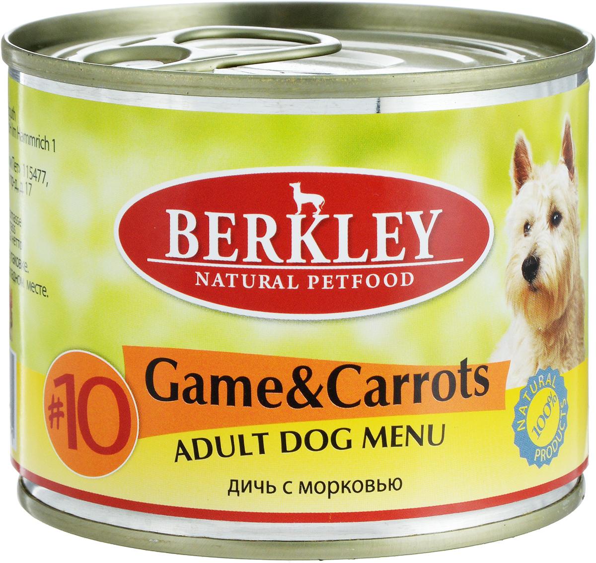 """Консервы для собак Berkley """"№10"""", оленина с морковью, 200 г 57478/75006"""