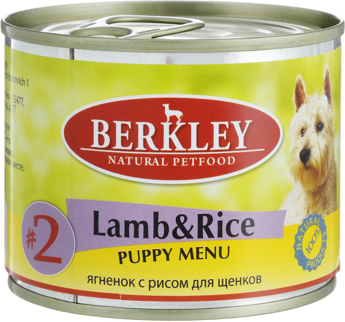 Консервы Berkley Puppy Menu, для щенков, ягненок с рисом, 200 г58034/75007Консервы Berkley Puppy Menu - полноценное консервированное питание для щенков. Не содержат сои, консервантов, искусственных красителей и ароматизаторов. Корм полностью удовлетворяет ежедневные энергетические потребности животного и обеспечивает оптимальное функционирование пищеварительной системы. Товар сертифицирован.