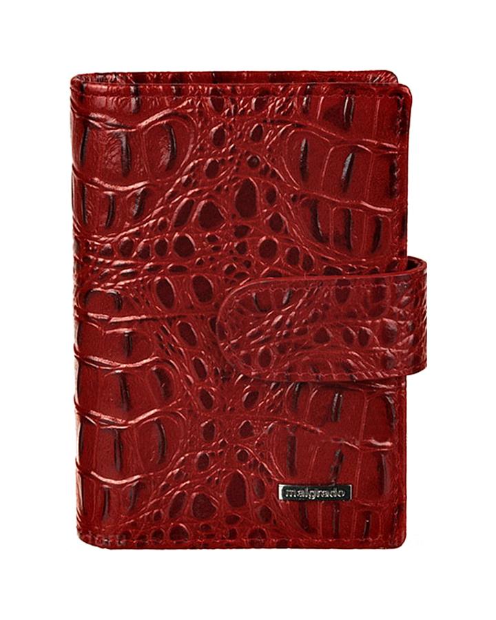 Визитница женская Malgrado, цвет: красный. 42003-5080142003-50801Стильная визитница Malgrado с веерным открытием изготовлена из натуральной кожи и оформлена тиснением под кожу рептилии. Внутри содержит прозрачный вкладыш с двадцатью кармашками для кредитных и дисконтных карт. На боковых стенках имеются два дополнительных кармана для пропуска и карт. Закрывается визитница на хлястик с кнопками, при помощи чего регулируется объем. Такая визитница станет замечательным подарком человеку, ценящему качественные и практичные вещи.