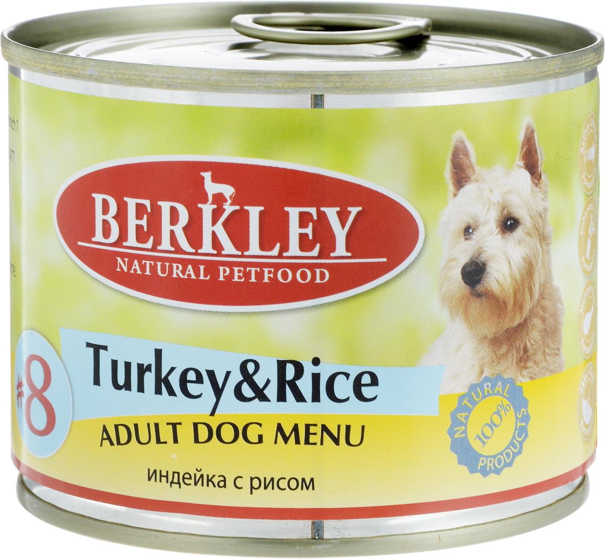 Консервы для собак Berkley №8, индейка с рисом, 200 г57475/75004Консервы Berkley №8 - полноценное консервированное питание для собак. Не содержат сои, консервантов, искусственных красителей и ароматизаторов. Корм полностью удовлетворяет ежедневные энергетические потребности животного и обеспечивает оптимальное функционирование пищеварительной системы. Товар сертифицирован.