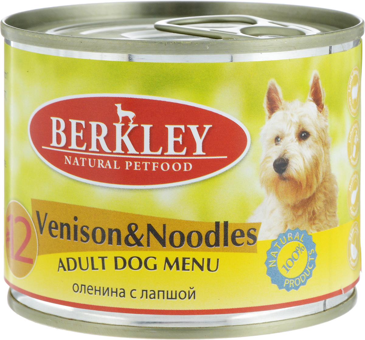 """Консервы для собак Berkley """"№12"""", оленина с лапшой, 200 г 69560/75018"""
