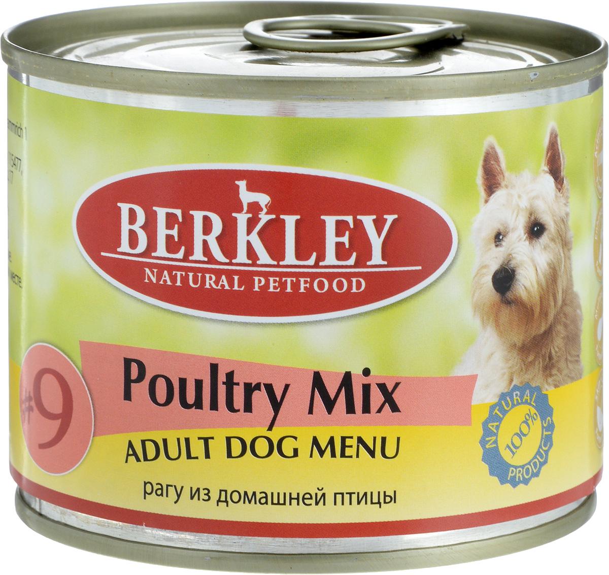 Консервы для собак Berkley №9, рагу из домашней птицы, 200 г57474/75005Консервы Berkley №9 - полноценное консервированное питание для собак. Не содержат сои, консервантов, искусственных красителей и ароматизаторов. Корм полностью удовлетворяет ежедневные энергетические потребности животного и обеспечивает оптимальное функционирование пищеварительной системы. Товар сертифицирован.