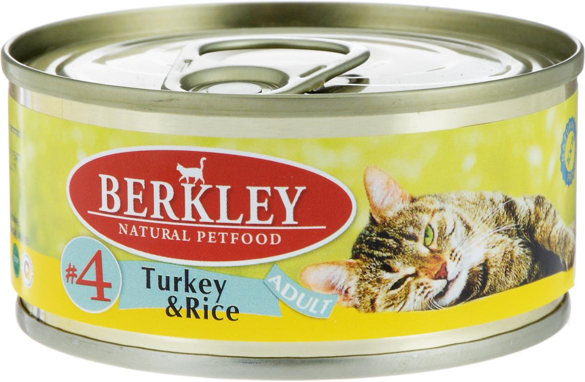 Консервы Berkley №4, для взрослых кошек, индейка с рисом, 100 г консервы berkley для взрослых кошек с цыпленком и овощами 100 г