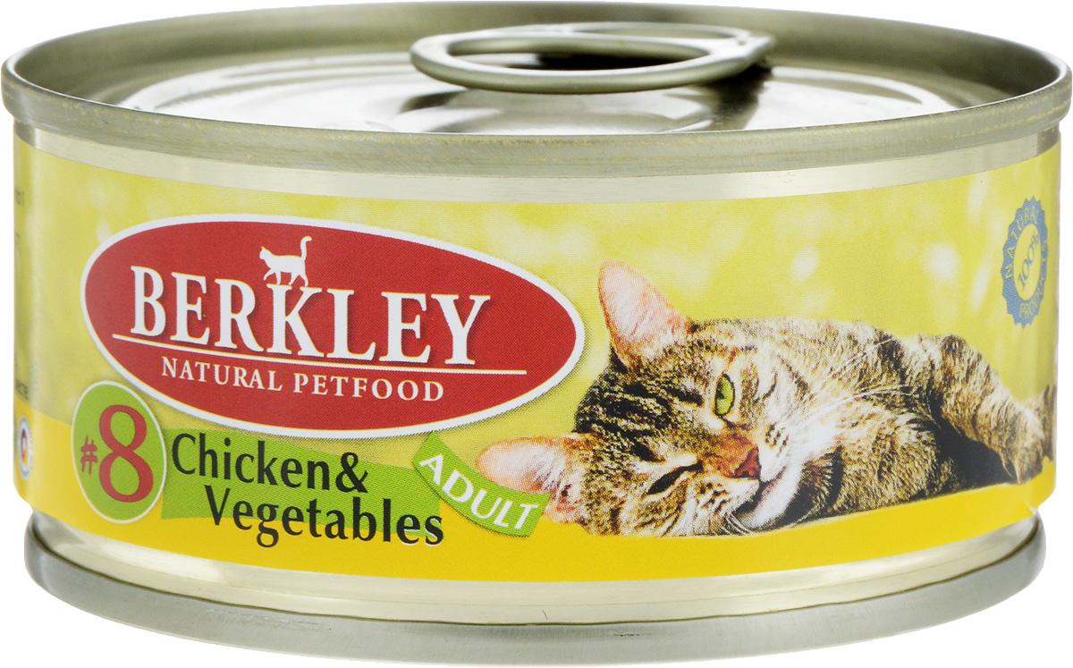 """Консервы для кошек Berkley """"№8"""", цыпленок с овощами, 100 г 57469/75107"""