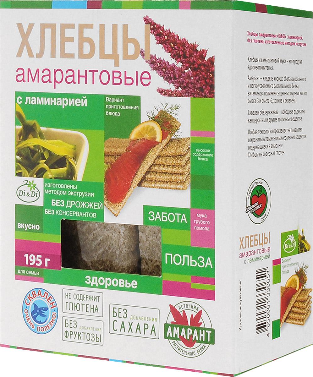 Di & Di хлебцы амарантовые с ламинарией, 195 г4650061330651Хлебцы из амарантовой муки - это продукт здорового питания. Амарант - кладезь хорошо сбалансированного и легко усвояемого растительного белка, витаминов, полинасыщенных жирных кислот омега-3 и омега-6, холина и сквалена. Особая технология производства позволяет сохранить витамины и минеральные вещества, содержащиеся в амаранте.