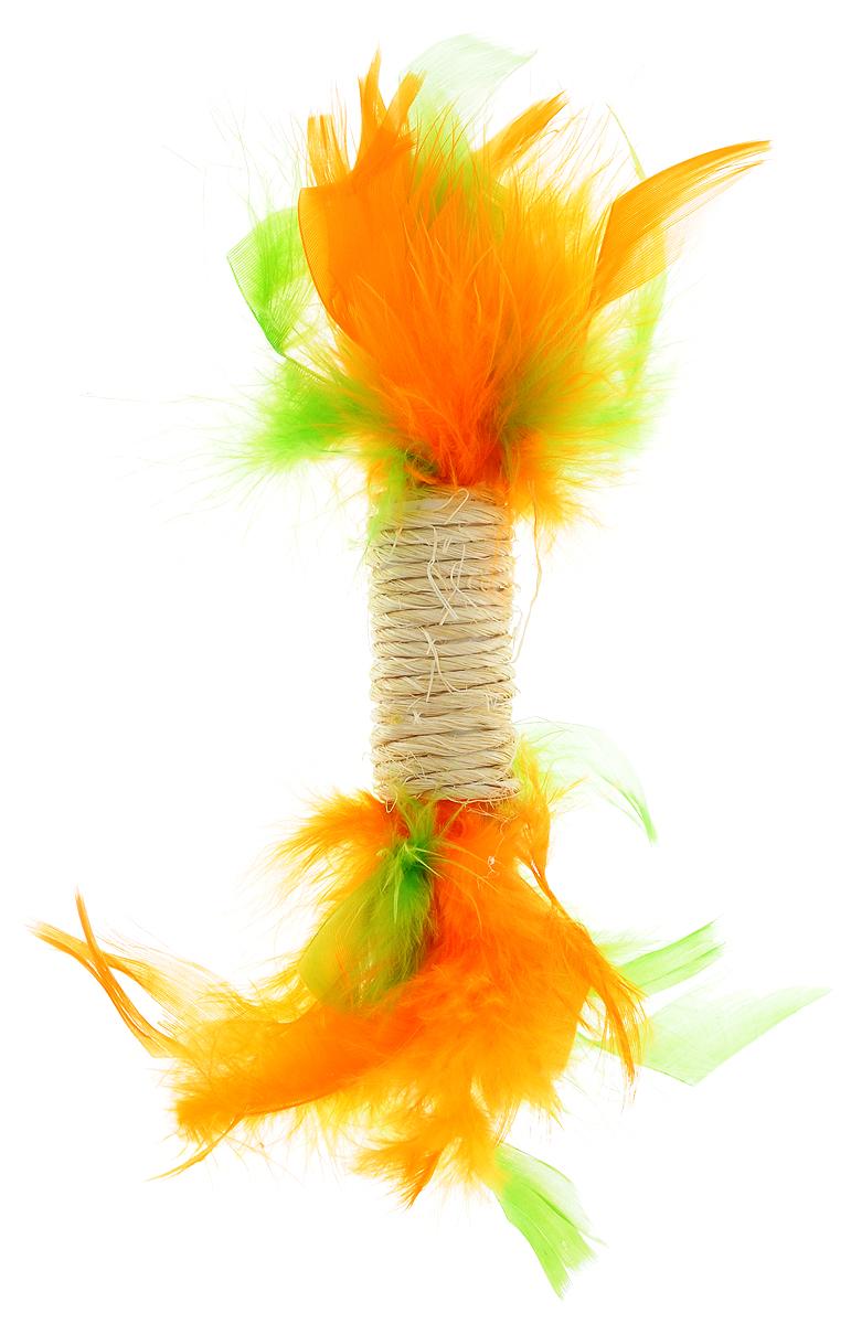 Игрушка для кошек Zoobaloo Когтеточка с пером, цвет: зеленый, оранжевый. 33003300_зеленый, оранжевыйИгрушка Zoobaloo Когтеточка с пером предназначена для кошек. Эта привлекательная когтеточка изготовлена из сизалевой ткани, украшена яркими перьями и позволит вам избежать появления царапин на мебели! Кошачья мята делает игрушку отличным аксессуаром для самостоятельной игры.