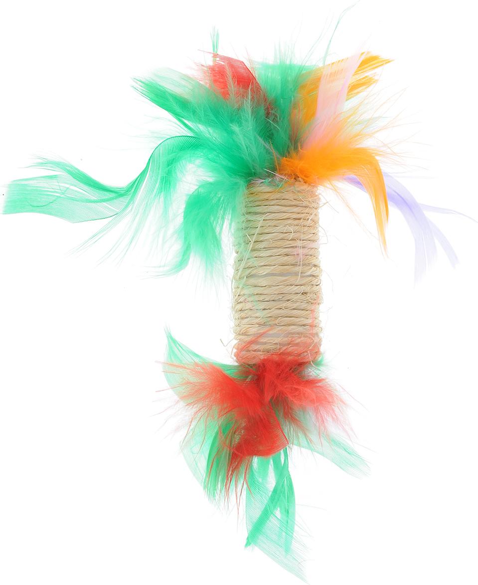 Игрушка для кошек Zoobaloo Когтеточка с пером, цвет: оранжевый, зеленый, красный. 33003300_оранжевый, зеленый, красныйИгрушка Zoobaloo Когтеточка с пером предназначена для кошек. Эта привлекательная когтеточка изготовлена из сизалевой ткани, украшена яркими перьями и позволит вам избежать появления царапин на мебели! Кошачья мята делает игрушку отличным аксессуаром для самостоятельной игры.