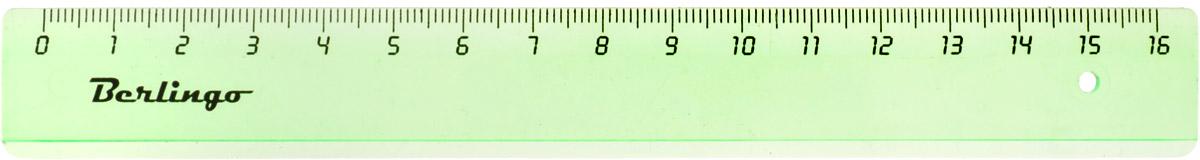 Berlingo Линейка цвет прозрачный зеленый 16 см
