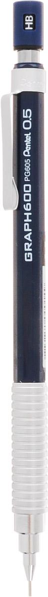 Pentel Карандаш механический Graph 600 цвет корпуса серебристый темно-синийPG605-CX/синий/серебристыйМеханический карандаш Pentel Graph 600 подходит для рисования, черчения и письма. Снабжен металлическим держателем и металлическим клипом. Сбалансированный корпус, матовый металл зоны захвата. Вам понравится этот комфортный и стильный карандаш.