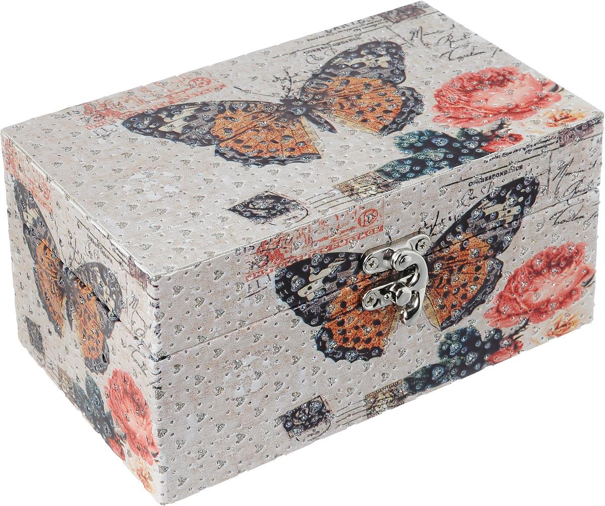 Шкатулка декоративная Bestex Бабочки, 18 х 11 х 8,5 см7717217Декоративная шкатулка Bestex Бабочки, выполненная из МДФ, идеально подойдет для хранения бижутерии, принадлежностей для шитья, различных мелочей и безделушек. Изделие дополнено принтом в виде бабочек и тиснением в виде сердечек с блестками. Шкатулка закрывается на металлический курковый замок. Такая шкатулка станет отличным подарком человеку, ценящему необычные и стильные аксессуары.