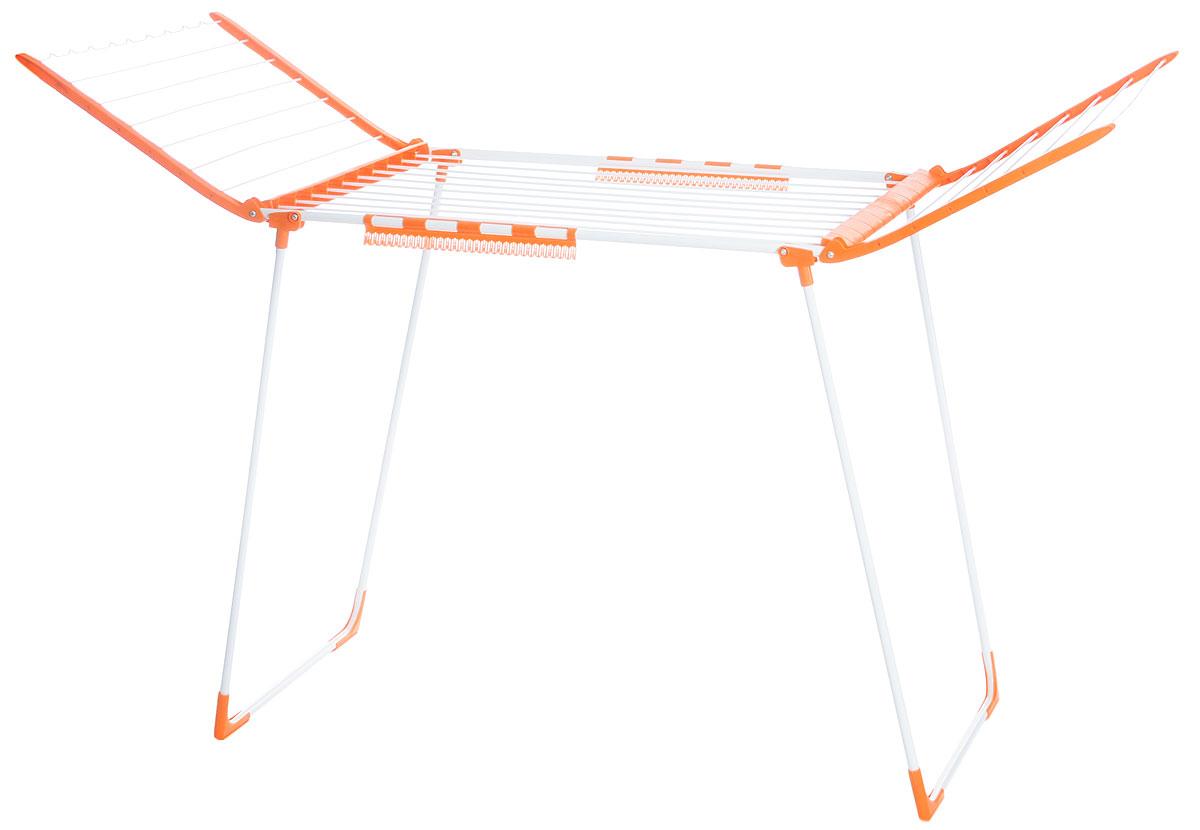 Сушилка для белья VANI, 174 х 65 х 100 смV03-010CНапольная раскладывающаяся сушилка для белья VANI оснащена распашными створками для сушки одежды во всю длину. Волнистая перекладина обеспечивает фиксацию плечиков. Есть дополнительный держатель для маленьких вещей (носки, платки). Сушилка долговечна, выполнена из высококачественной стали и прочного пластика. Ее можно использовать на балконе или в комнате и она не займет много места. Размер в сложенном виде: 100 х 65 х 7,5 см. Размер в разложенном виде: 174 х 65 х 100 см.