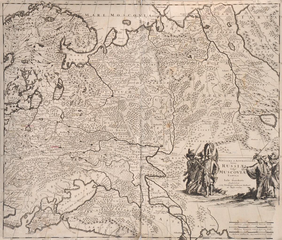 Географическая карта России (Novissima et Accuratissima Totius Russiae vulgo Moscoviae tabula). Гравюра. Западная Европа, 1660-е гг