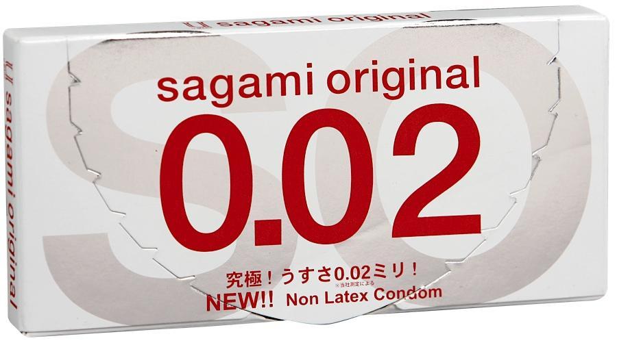 Sagami Original 002 - 2 шт Полиуретановые презервативы 0,02 мм
