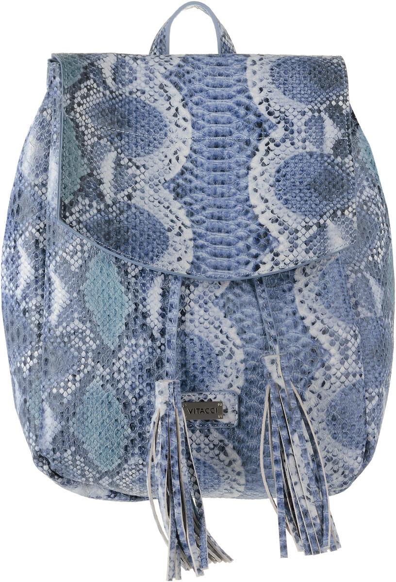 Рюкзак женский Vitacci, цвет: голубой. BL0229BL0229Стильный женский рюкзак Vitacci выполнен из высококачественной искусственной кожи с тиснением и принтом под змею. Рюкзак имеет одно вместительное основное отделение, которое закрывается на клапан с кнопкой. Внутри располагается накладной карман на застежке-молнии. Модель оснащена узкими лямками и ручкой сверху. Лямки регулируются по длине. Рюкзак оформлен декоративным шнурком-кулиской с завязками с кистями. Этот рюкзак станет практичным и модным городским аксессуаром.
