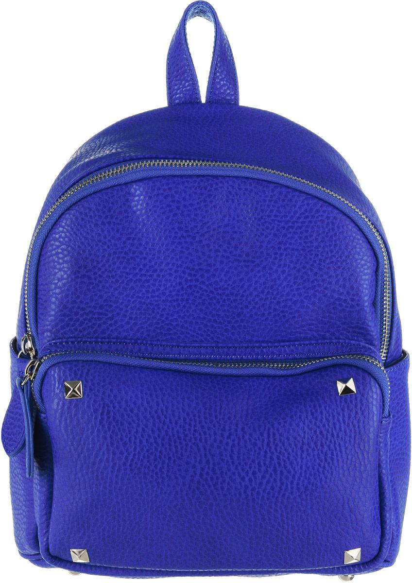 Рюкзак женский Vitacci, цвет: синий. HG0044HG0044Стильный женский рюкзак Vitacci идеально подойдет под ваш образ. Он выполнен из качественной искусственной кожи. На лицевой стороне расположен удобный карман, закрывающийся на молнию, по бокам карманы на металлических кнопках. Внутри расположено главное отделение, которое состоит из одного кармана на молнии и двух открытых карманов. Рюкзак оснащен лямками, длина которых регулируется с помощью пряжек. Такой модный и удобный рюкзак станет незаменимым аксессуаром в вашем гардеробе.