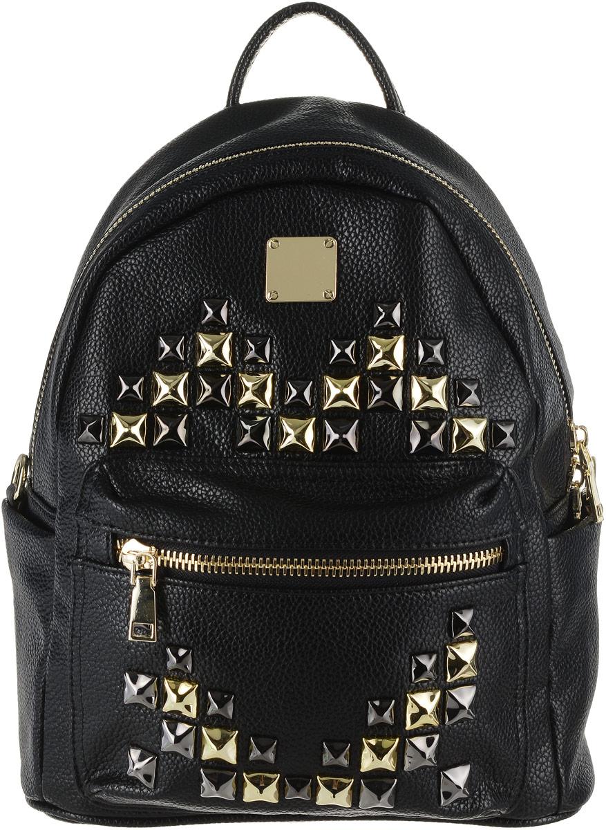 Рюкзак женский Vitacci, цвет: черный. V1186V1186Стильный женский рюкзак Vitacci выполнен из высококачественной искусственной кожи. Рюкзак имеет одно вместительное основное отделение, которое застегивается на застежку-молнию. Внутри располагается прорезной карман на молнии, два накладных кармашка и мягкое отделение для планшета. Спереди расположен накладной карман, застегивающийся на застежку-молнию, по бокам рюкзак дополнен двумя открытыми накладными карманами. Модель оснащена широкими лямками и небольшой ручкой сверху. Лямки регулируются по длине. Этот рюкзак станет практичным и модным городским аксессуаром.