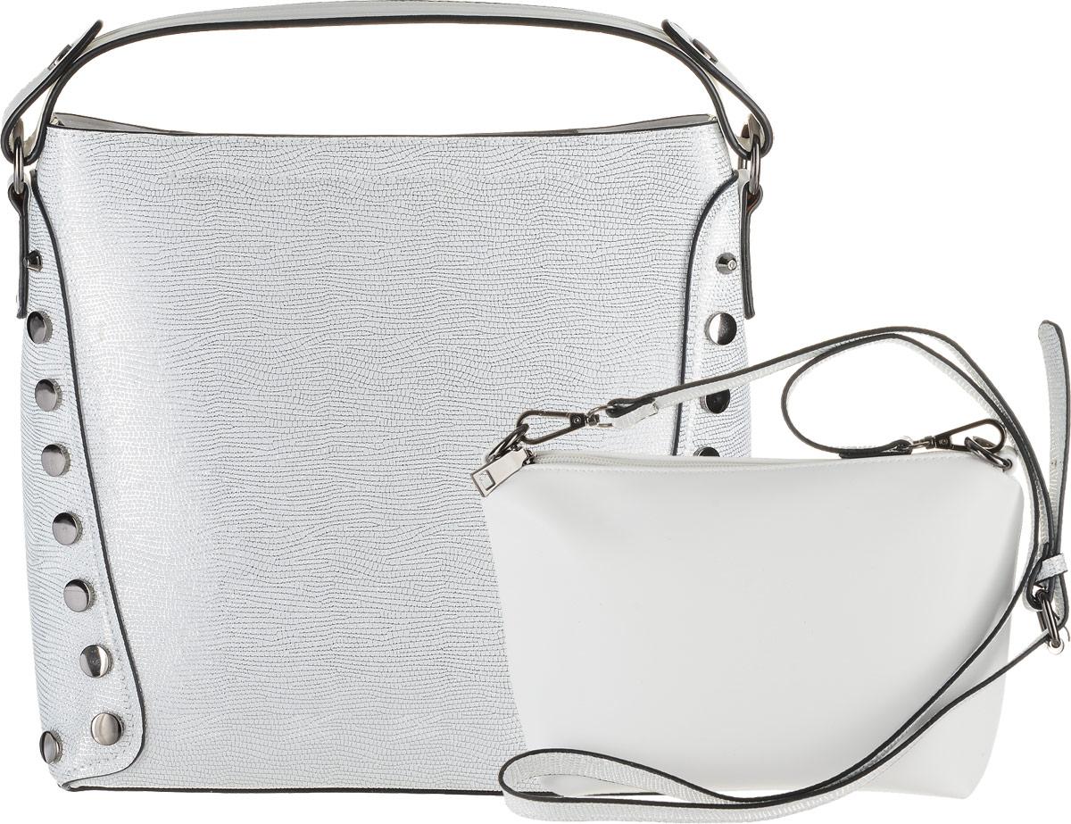 Сумка женская Vitacci, цвет: белый. HG0019HG0019Изысканная женская сумка Vitacci выполнена из качественной искусственной кожи. Внутри сумка оснащена съемным отделением с текстильной подкладкой, выполненным из искусственной кожи, внутри которого содержится два накладных кармана для телефона и мелких принадлежностей, а также врезной карман на молнии. Сумка оснащена съемным плечевым ремнем регулируемой длины.