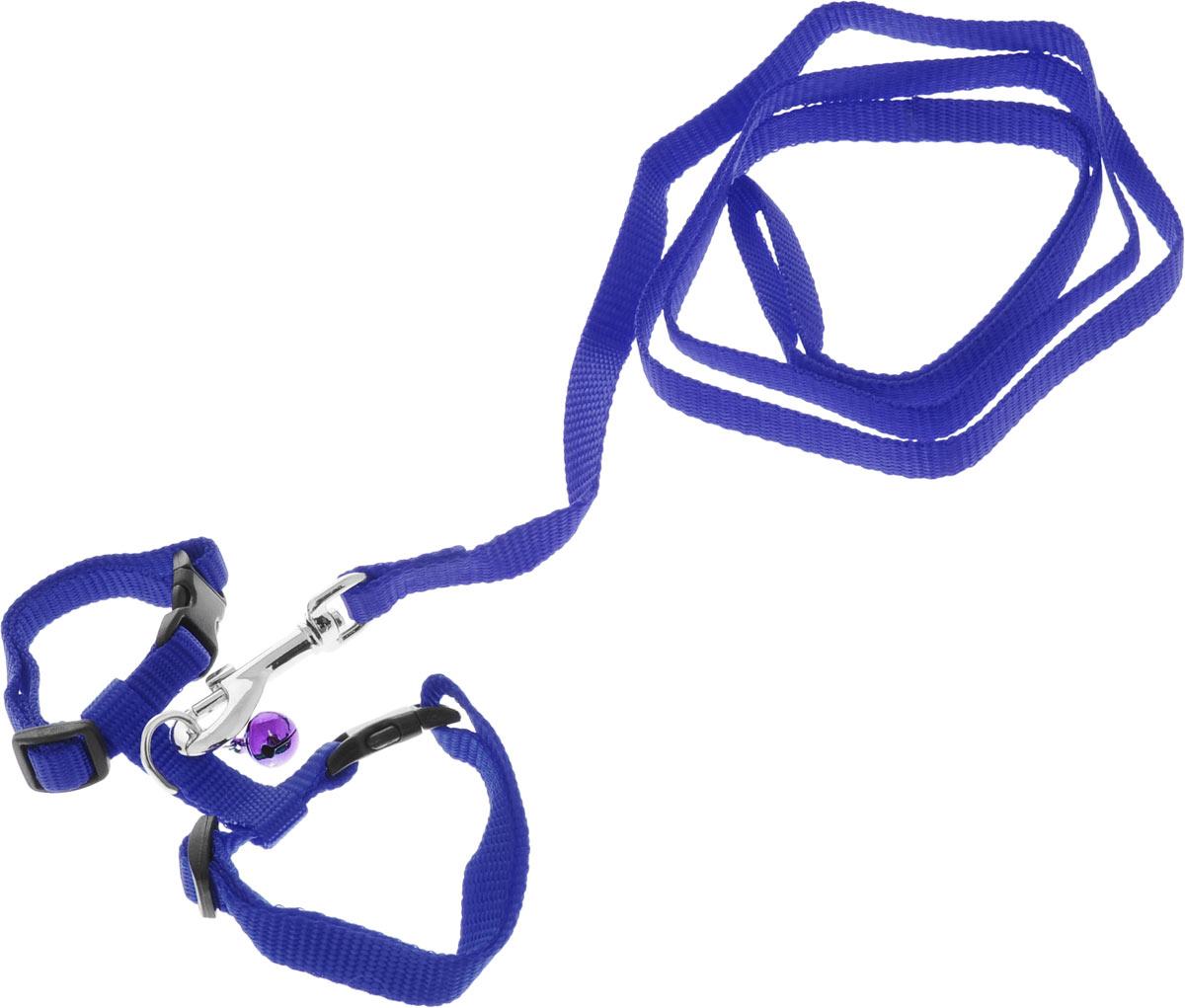 Шлейка для грызунов Каскад, с поводком, цвет: синий, ширина 10 мм, обхват груди 20-30 см01210011-06Шлейка изготовлена из прочного нейлона и дополнена бубенчиком, подходит для домашних грызунов. Крепкие металлические элементы делают ее надежной и долговечной. Шлейка - это альтернатива ошейнику. Правильно подобранная шлейка не стесняет движения питомца, не натирает кожу, поэтому животное чувствует себя в ней уверенно и комфортно. Размер регулируется при помощи пряжки. В комплекте поводок с металлическим карабином. Обхват груди: 20-30 см. Ширина шлейки: 1 см. Длина поводка: 108 см.