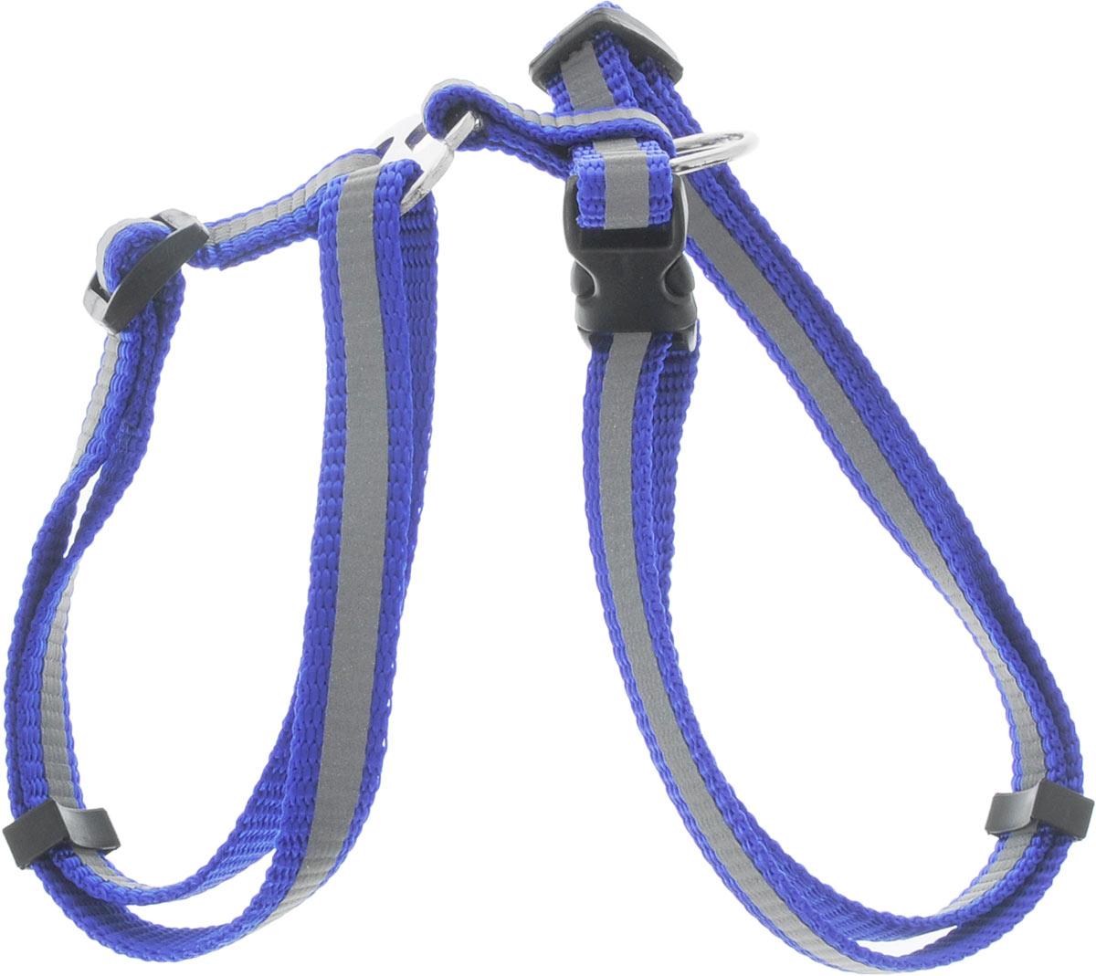 Шлейка для собак Каскад, со светоотражателем, цвет: синий, ширина 10 мм, обхват груди 20-30 см01210013-06Шлейка, изготовленная из прочного нейлона, подходит для собак. Крепкие металлические элементы делают ее надежной и долговечной. Шлейка - это альтернатива ошейнику. Правильно подобранная шлейка не стесняет движения питомца, не натирает кожу, поэтому животное чувствует себя в ней уверенно и комфортно. Размер регулируется при помощи пряжки. Обхват груди: 20-30 см. Ширина шлейки: 1 см.