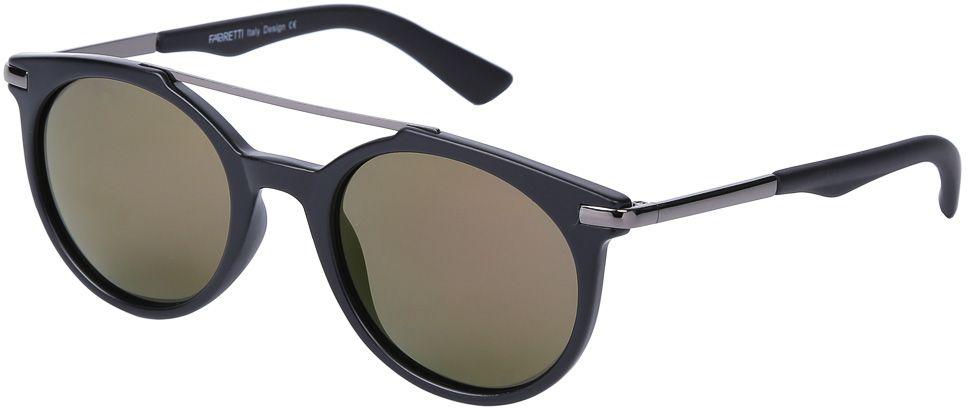 Очки солнцезащитные женские Fabretti, цвет: черный, хаки. E271790-1PZE271790-1PZЭксклюзивные женские солнцезащитные очки от итальянского бренда Fabretti выполнены из многослойного пластика и прочного металла. Дизайнерская форма в стиле ретро и элегантное сочетание черного и золотого цвета превращают модель в невероятно яркий и утонченный аксессуар, который подойдет под любой современный образ. Поляризационное покрытие линз и большая степень защиты от ультрафиолетовых лучей защитит ваши глаза от усталости, а прочное крепление дужек помогут наслаждаться как на отдыхе, так и за рулем автомобиля!