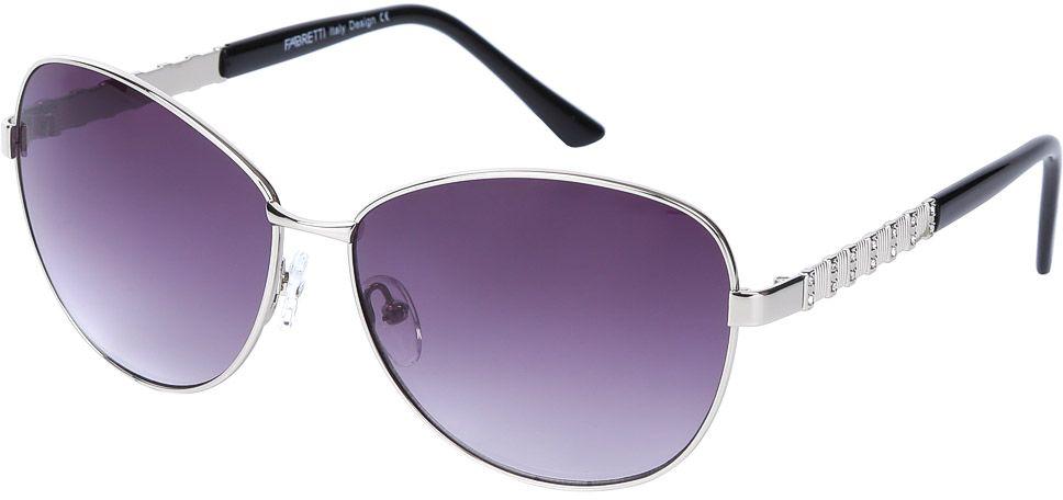 Очки солнцезащитные женские Fabretti, цвет: серебристый, черный, пурпурный. E278672-2GE278672-2GЖенские очки от итальянского бренда Fabretti призваны для того, чтобы украсить и дополнить ваш женственный образ. Изысканный серый цвет в сочетании с градиентным покрытием линз превращают модель в утонченный аксессуар, наполненный изыском итальянской моды. Элегантная овальная форма и дизайнерский орнамент на дужках подойдут к любому цветотипу и форме лица. Прочный многослойный пластик и крепление дужек позволят носить аксессуар и изумлять окружающих на протяжении нескольких сезонов!