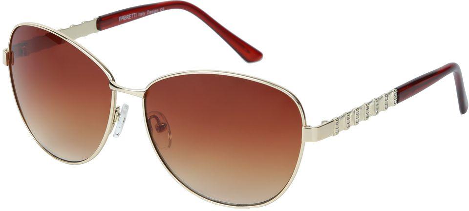 Очки солнцезащитные женские Fabretti, цвет: золотистый, коричневый. E278672-3GE278672-3GЖенские очки от итальянского бренда Fabretti призваны для того, чтобы украсить и дополнить ваш женственный образ. Коричневый цвет в сочетании с градиентным покрытием линз превращают модель в утонченный аксессуар, наполненный изыском итальянской моды. Элегантная овальная форма и дизайнерский орнамент на дужках подойдут к любому цветотипу и форме лица. Прочный многослойный пластик и крепление дужек позволят носить аксессуар и изумлять окружающих на протяжении нескольких сезонов!
