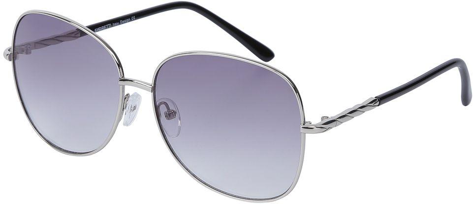 Очки солнцезащитные женские Fabretti, цвет: серебристый, темно-сиреневый. E278746-3GE278746-3GИзысканные женские очки от итальянского бренда Fabretti призваны для того, чтобы украсить и дополнить ваш элегантный и женственный образ. Уникальный серый цвет в сочетании с градиентным покрытием линз превращают модель в утонченный аксессуар, наполненный изыском современной итальянской моды. Элегантная овальная форма и дизайнерский орнамент на дужках подойдут к любому цветотипу и форме лица. Прочный многослойный пластик и крепление дужек позволят носить аксессуар и изумлять окружающих на протяжении нескольких сезонов!