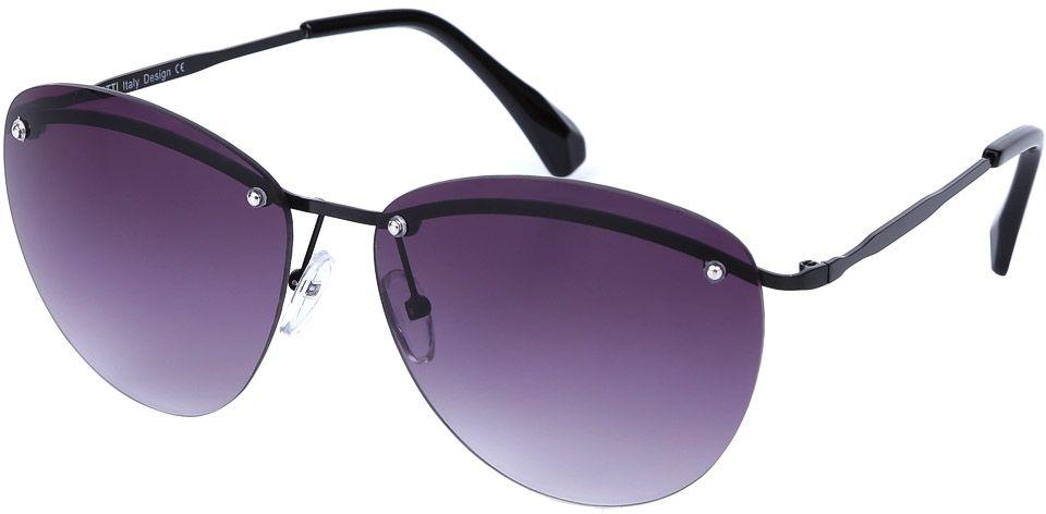 Очки солнцезащитные женские Fabretti, цвет: темно-серый, фиолетовый. E279016-2GE279016-2GЖенские очки от итальянского бренда Fabretti призваны для того, чтобы украсить и дополнить ваш женственный образ. Классический черный цвет в сочетании с градиентным покрытием линз превращают модель в утонченный аксессуар, наполненный изыском итальянской моды. Элегантная овальная форма и фурнитура в серебряном цвете подойдут к любому цветотипу и форме лица. Прочный металл и крепление дужек позволят носить аксессуар как на отдыхе, так и за рулем автомобиля.