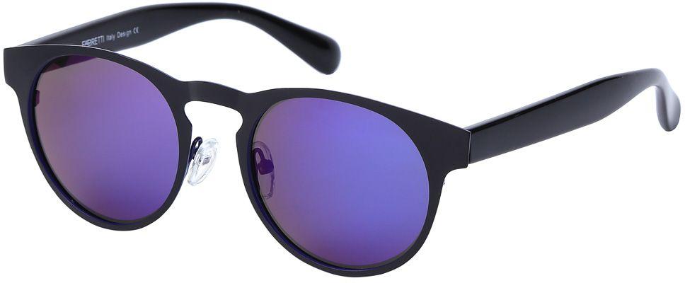 Очки солнцезащитные женские Fabretti, цвет: черный, сине-фиолетовый. E279101-2PZE279101-2PZДизайнерские очки от итальянского бренда Fabretti призваны для того, чтобы украсить и дополнить ваш яркий образ. Классический черный цвет в сочетании с насыщенным синим оттенком, превращают модель в роскошный аксессуар, наполненный шиком итальянской моды. Изысканная круглая форма и зеркальные линзы фиолетового цвета подойдут к любому цветотипу и форме лица. А прочный металл, поляризационное покрытие и крепление дужек позволят изумлять окружающих на протяжении нескольких сезонов!