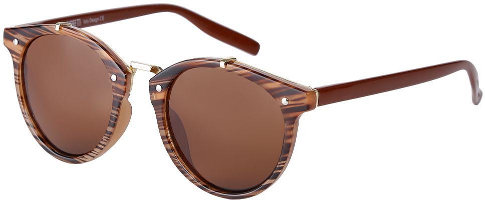 Очки солнцезащитные женские Fabretti, цвет: коричневый. F3715623-1PF3715623-1PДизайнерские женские очки от итальянского бренда Fabretti выполнены из пластика с добавлением прочного металла. Изысканная форма оправы, стильный принт под деревянную поверхность и коричневое покрытие линз превращают модель в яркий и изысканный аксессуар, который дополнит любой современный образ. Аккуратные дужки и фурнитура в золотом цвете с легкостью подчеркнут ваш изумительный вкус. В комплектации с очками чехол, который можно использовать как салфетку.