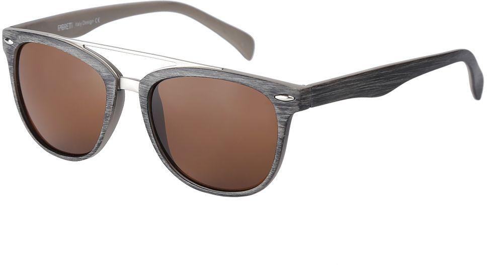 Очки солнцезащитные женские Fabretti, цвет: серый, коричневый. F376090-1F376090-1Дизайнерские женские очки от итальянского бренда Fabretti выполнены из многослойного пластика с добавлением прочного металла. Изысканный коричневый цвет линз придает модели настоящую нотку итальянского шика. Ультрамодная прямоугольная оправа, мягкое градиентное покрытие линз и фурнитура в стальном оттенке с легкостью подчеркнут ваш изумительный вкус.