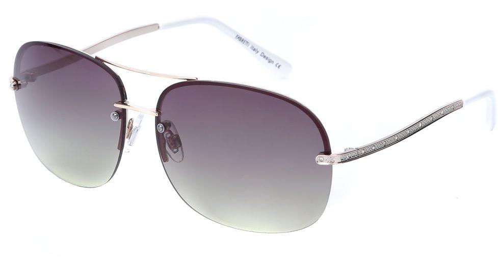 Очки солнцезащитные женские Fabretti, цвет: серебристый, темно-пурпурный. J171899-1GJ171899-1GЯркие женские очки от итальянского бренда Fabretti в форме –«капельки» выполнены из прочного металла и прекрасно подойдут ко всем типам лица. Дизайнерская модель дополнит как классический, так и романтический образ. Элегантное сочетание белых дужек, золотой фурнитуры придаст любому образу нотки современного шика, а зеленые градиентные линзы подчеркнут вашу яркость и экстравагантность. Высокая степень защиты от солнечных лучей и надежное крепление дужек, - все это превращает модель в уникальный аксессуар, которым будет удобно пользоваться за рулем автомобиля и на отдыхе.