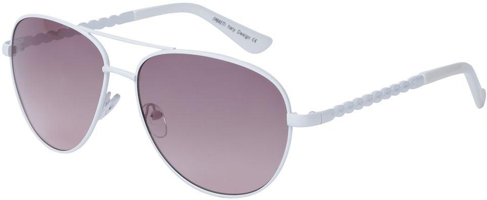 Очки солнцезащитные женские Fabretti, цвет: белый, пепельно-розовый. J172383-2GJ172383-2GЖенские очки-авиаторы от итальянского бренда Fabretti – это изысканный аксессуар, который должен быть у каждой модницы в этом сезоне. Стильная форма, белая оправа, фиолетовые линзы и аккуратные дужки с изящным орнаментом с легкостью подчеркнут ваш яркий вкус и дополнят любой современный образ. Градиентное покрытие линз придаст загадочность и утонченности вашему взгляду.