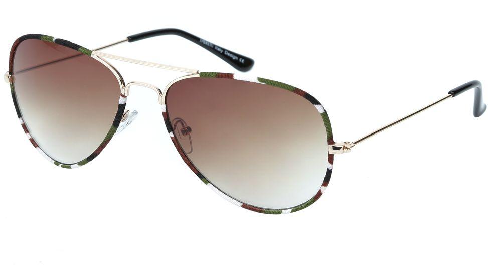 Очки солнцезащитные женские Fabretti, цвет: золотистый, зеленый, коричневый. J172586-3GJ172586-3GЖенские очки-авиаторы от итальянского бренда Fabretti – это изысканный аксессуар, который должен быть у каждой модницы в этом сезоне. Эксклюзивная отделка оправы, создающая эффект тканевого покрытия, придаст вашему образу неповторимую элегантность и изысканность. Кофейный цвет линз и черные дужки завершают дизайн, превращая модель в изумительный аксессуар, который дополнит любой современный образ. Градиентное покрытие, высокая степень защиты от солнечных лучей и надежные крепления помогут приковывать взгляды окружающих протяжении нескольких модных сезонов.Аксессуар очень удобен для вождения, а также незаменим на отдыхе.