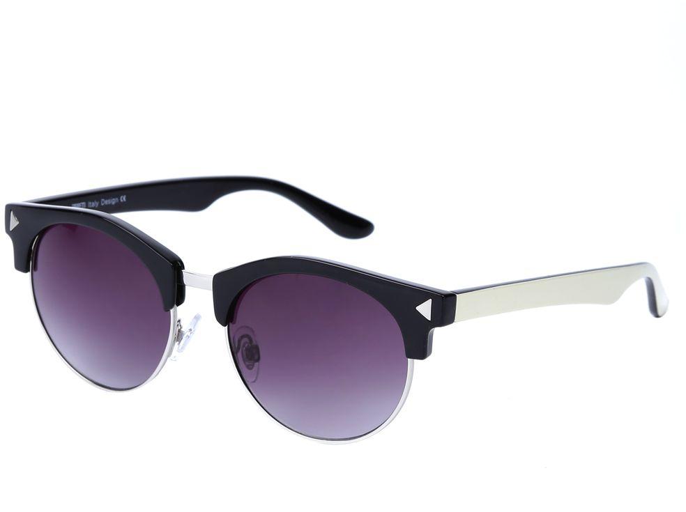 Очки солнцезащитные женские Fabretti, цвет: черный, серебристый, пурпурный. J173734-1GJ173734-1GМодные женские очки от итальянского бренда Fabretti выполнены в ретро-стиле «панто». Наши дизайнеры черпали свое вдохновение в модных показах 50-х и 60-х годов. Элегантная форма с легкостью подчеркнет ваши скулы, а изысканное сочетание классического черного цвета и фурнитура под серебро придаст любому образу нотки женственность и элегантности. Градиентное покрытие линз, высокая степень защиты от солнечных лучей и надежное крепление дужек, - все это превращает модель в уникальный аксессуар, который будет украшать вас на протяжении нескольких модных сезонов