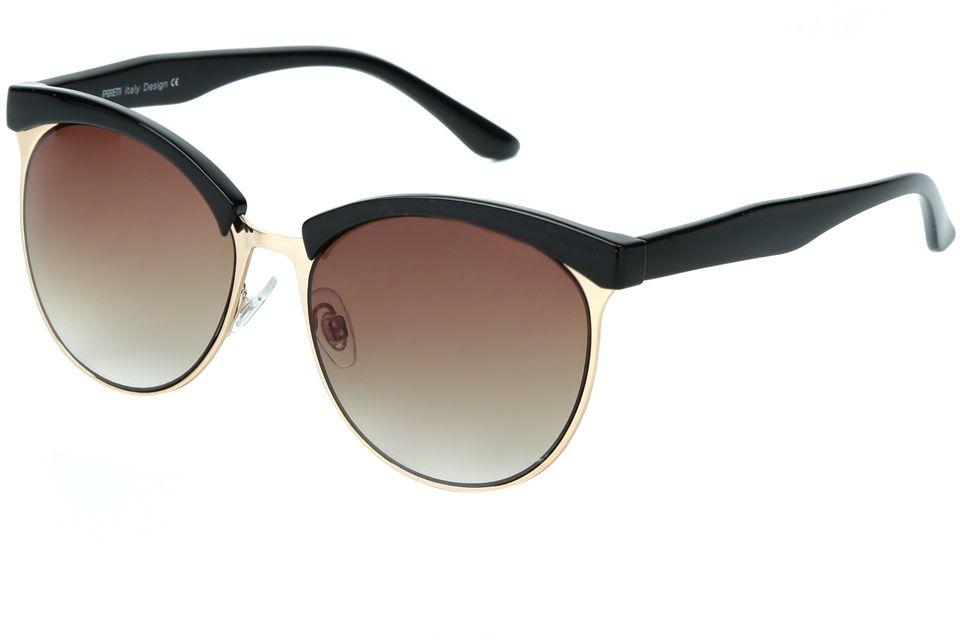Очки солнцезащитные женские Fabretti, цвет: черный, золотой, коричневый. J173735-1GJ173735-1GМодные женские очки от итальянского бренда Fabretti выполнены в ретро-стиле, который прекрасно подойдет ко всем типам лица и прекрасно подчеркнет ваши скулы. Наши дизайнеры черпали свое вдохновение в модных показах 60-х годов и создали уникальную модель, которая дополнит как классический, так и романтический образ. Элегантное сочетание черного и золотого цвета оправы придаст любому образу нотки итальянского шика, а коричневые градиентные линзы подчеркнут вашу элегантность. Высокая степень защиты от солнечных лучей и надежное крепление дужек, - все это превращает модель в уникальный аксессуар, который будет украшать вас на протяжении нескольких модных сезонов.