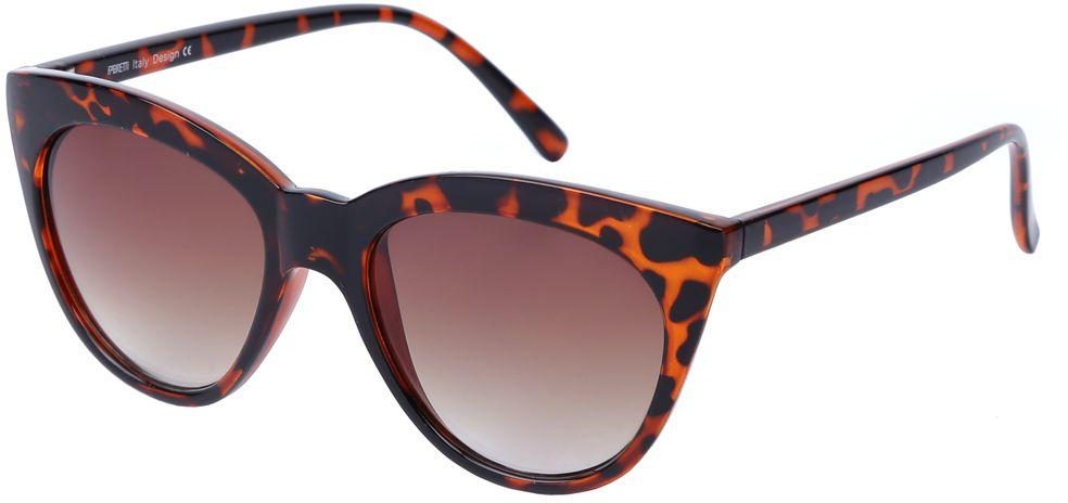Очки солнцезащитные женские Fabretti, цвет: коричневый. J174252-1GJ174252-1GЯркие женские очки от итальянского бренда Fabretti выполнены в стильной форме кошачьего глаза. Ультрасовременный анималистический принт призван добавить в ваш образ нотку современного итальянского шика. Дизайнерская оправа воссоздает элегантность 50-х годов, поэтому аксессуар понравиться всем любительницам ретро-стиля. Градиентное покрытие линз, высокая степень защиты от солнечных лучей и надежное крепление дужек, - все это превращает модель в прочные и стильные очки удобеные для вождения, а также незаменимые на отдыхе.