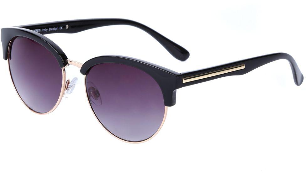 Очки солнцезащитные женские Fabretti, цвет: черный, золотистый, пурпурный. J174472-1GJ174472-1GУникальные женские очки от итальянского бренда Fabretti выполнены в ретро-стиле, который прекрасно подойдет ко всем типам лица. Наши дизайнеры черпали свое вдохновение в модных показах 60-х годов и создали уникальную модель, которая дополнит любой современный образ. Элегантное сочетание черного и золотого цвета оправы придаст любому образу нотки элегантности и итальянского шика. Градиентное покрытие линз, высокая степень защиты от солнечных лучей и надежное крепление дужек, - все это превращает модель в уникальный аксессуар, который будет украшать вас на протяжении нескольких модных сезонов.