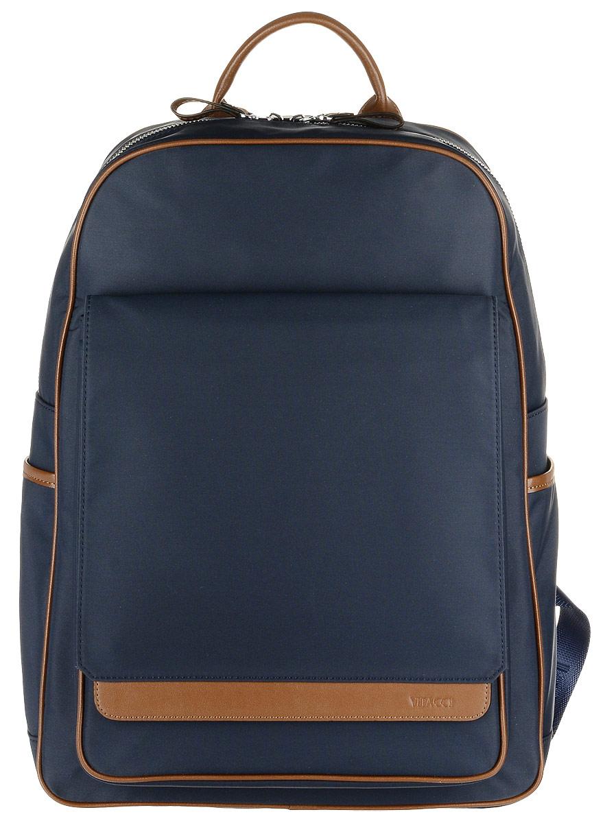 Рюкзак мужской Vitacci, цвет: темно-синий. GY017GY017Стильный мужской рюкзак Vitacci выполнен из высококачественного плотного текстильного материала. Рюкзак имеет одно вместительное основное отделение, которое застегивается на застежку-молнию Внутри располагается прорезной карман на молнии, прорезной открытый карман и мягкое отделение для планшета на хлястике с липучкой. Спереди расположен объемный карман с клапаном на магнитном замке, по бокам рюкзак дополнен двумя открытыми накладными карманами. Модель оснащена широкими лямками и небольшой ручкой сверху. Лямки регулируются по длине. Этот рюкзак станет практичным и модным городским аксессуаром.