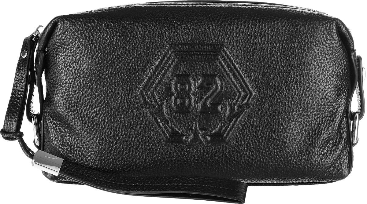 Сумка мужская Vitacci, цвет: черный. XY012XY012Мужская сумка Vitacci выполнена из натуральной кожи. Модель предназначена для хранения мелких вещей и документов. Сумка имеет одно отделение которое закрывается на застежку-молнию. Внутри содержатся прорезной карман на молнии, накладной карман и шесть карманов для пластиковых карт. Сзади изделие дополнено прорезным карманом на молнии. Сумка оснащена съемным ремешком для запястья.