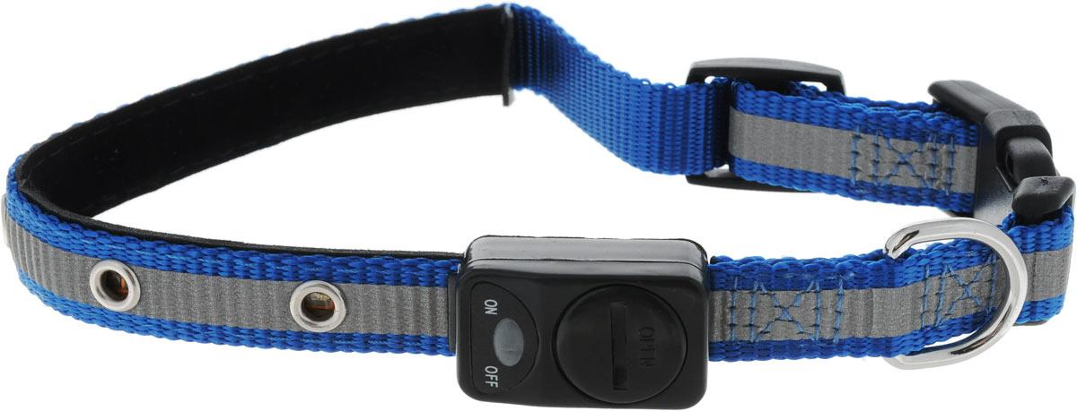 Ошейник для собак Каскад Мигающий, со светоотражающей лентой, цвет: синий, ширина 15 мм, длина 30-40 см48302342Ошейник для собак Каскад Мигающий изготовлен из прочного нейлона. Светоотражающая полоса и светодиоды на ошейнике обеспечивают безопасность вашего питомца в темное время суток. На ошейнике расположен дисплей, благодаря которому можно включить и выключить светодиоды. Дисплей работает от одной батарейки 3V (входит в комплект). Размер ошейника регулируется при помощи пластиковой пряжки. Застегивается изделие на застежку-фастекс. Изделие отличается высоким качеством, удобством и универсальностью. Длина ошейника: 30-40 см. Ширина ошейника: 1,5 см.