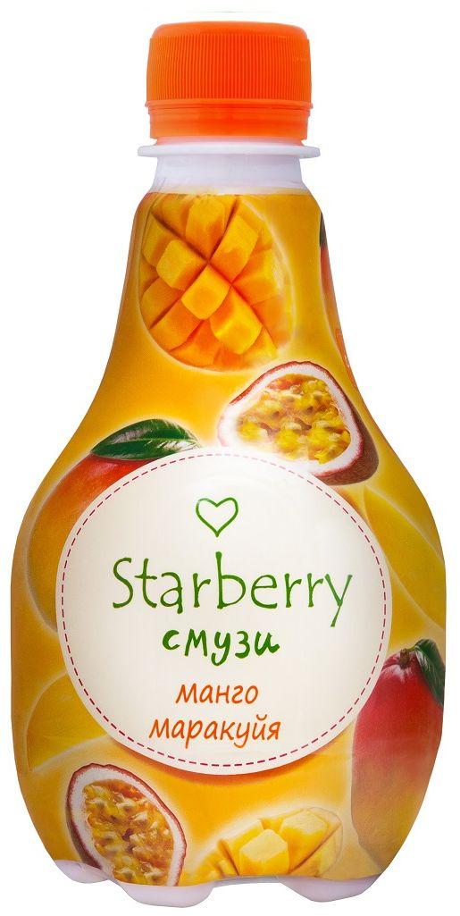 Starberry смузи манго, маракуйя, 0,375 л4607050695802Смузи на основе 100% натурального сока - понравится любителям необычных вкусовых сочетаний. Ощутить сладкую тропическую свежесть и притягательную силу сочных фруктов – легко. Просто попробуйте Starberry смузи и испытайте истинное удовольствие!