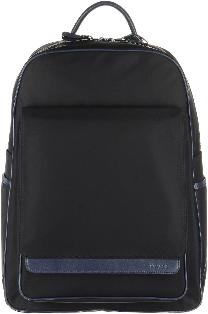 Рюкзак мужской Vitacci, цвет: черный. GY016GY016Стильный мужской рюкзак Vitacci выполнен из высококачественного плотного текстильного материала. Рюкзак имеет одно вместительное основное отделение, которое застегивается на застежку-молнию Внутри располагается прорезной карман на молнии, прорезной открытый карман и мягкое отделение для планшета на хлястике с липучкой. Спереди расположен объемный карман с клапаном на магнитном замке, по бокам рюкзак дополнен двумя открытыми накладными карманами. Модель оснащена широкими лямками и небольшой ручкой сверху. Лямки регулируются по длине. Этот рюкзак станет практичным и модным городским аксессуаром.